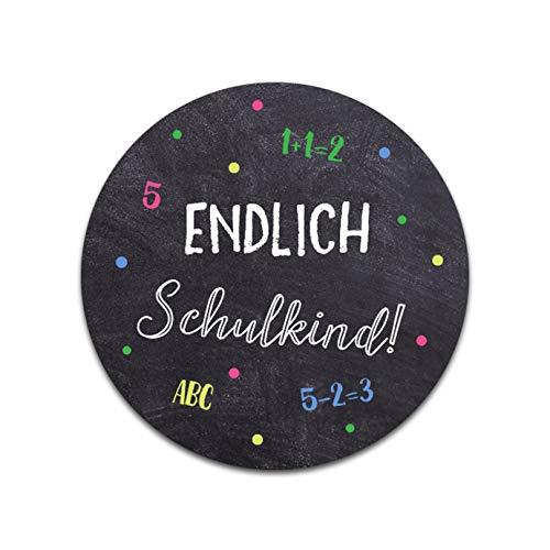 Nastami 50 x Sticker Endlich Schulkind Schulanfang Einschulung Aufkleber
