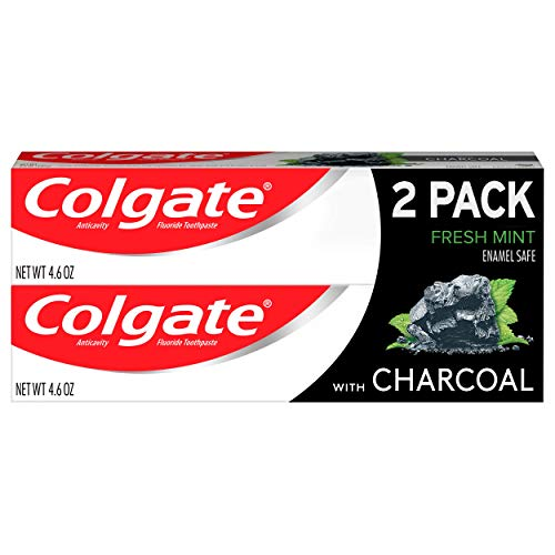 Colgate Essentials Charcoal Teeth Whitening Toothpaste, Natural Mint Flavor, Vegan - 4.6 Ounce (2 Pack)