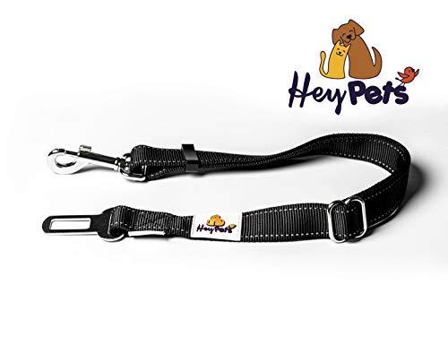 Hey Pets hondenveiligheidsgordel | autogordel voor honden, instelbaar van 50 cm tot 80 cm lengte | sterke karabijnhaak en universele stekker | voor kleine en middelgrote honden