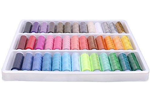 Luxbon 39 Rocchetti Arcobaleno Multi Colori Fili da Cucito Kit Set in Poliestere a Mano o per Macchine da Cucire