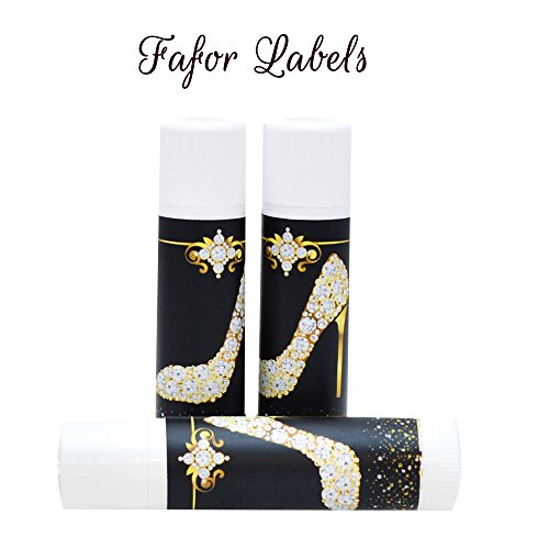 30 Wedding Lip Balms Favor Labels, High Heel Shoes Lip Balm Favor Stickers, Faux Gold