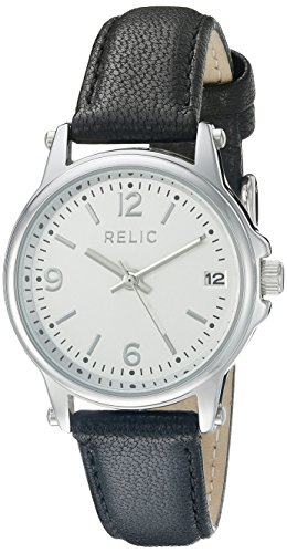 Relic by Fossil Women's Matilda Quartz Metal and Leather Casual Watch, Color: Silver, Black (Model: ZR34348)