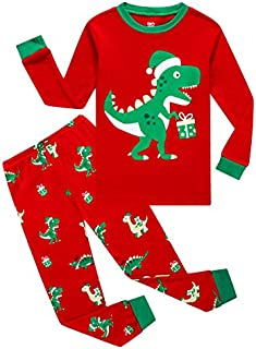 Image of Red and Green Dinosaur Christmas Pajamas for Boys, Toddlers and Infants - See More Designs