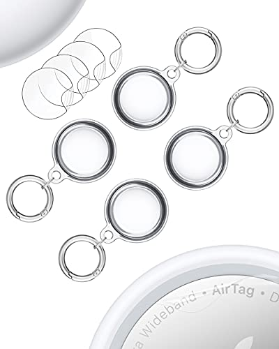 Clear Case for Apple Air Tag 2021 Car Keys Finder AirTags Full Body Protection Tracker AirTag Clip Small Keychain Ring Protector Mini Key Loop Holder Pets Dog Collar Tags Free Protective Film 4 Pack