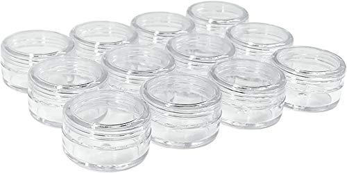 12 x Nailart Döschen je 5ml Dosen Tiegel (leer) transparent mit Schraubverschluss in Nailartbox