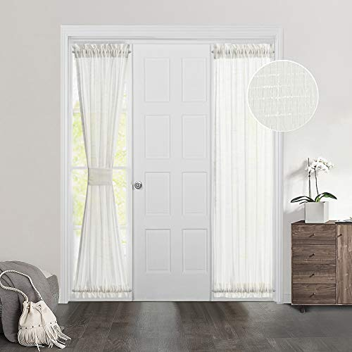 MIULEE Ivory French Door Curtain Set of 2 with Bonus Tiebacks Casual Window Covering Sheer Drapes for Balcony 25 Inches Wide by 72 Inches Long