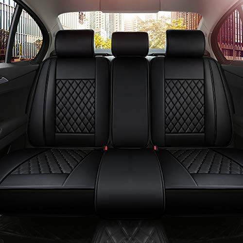 INCH EMPIRE Back Car Seat Cover Synthetic Leather Simple Style Universal Fit for Sedan Hatchback SUV Pickup Truck(Only Rear Black Grid)