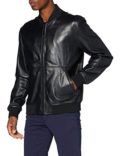 Trussardi Jeans Bomber Jacket Soft Touch Leath Giacca in Ecopelle, Black, 54 Uomo
