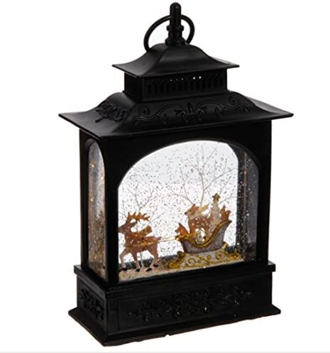 Lighted Reindeer and animals in Sleigh Christmas Water Snow Glitter Globe Lantern Decor 11 Inch product image
