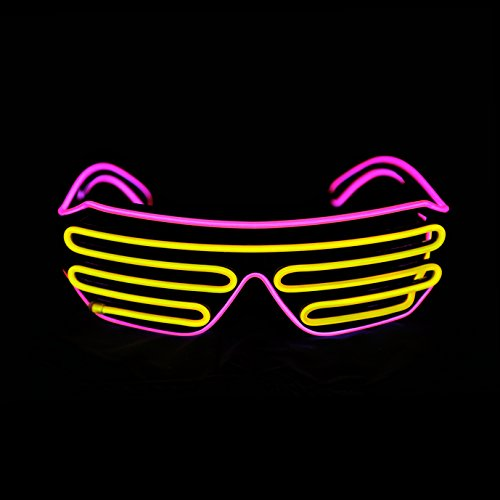 PINFOX Light Up Shutter Neon Rave Flashing Glasses El Wire LED Sunglasses Glow Costumes for Party, 80s, EDM RB03 (Pink - Yellow)