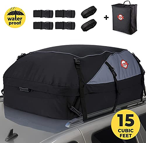 Sailnovo Auto Dachbox 15 Kubikfuß Faltbare Dachkoffer Aufbewahrungsbox Wasserdicht Dachtasche Dachgepäckträger Tasche Aufbewahrungsbox für Reisen und Gepäcktransport, Autos, Vans, SUVs, Schwarz