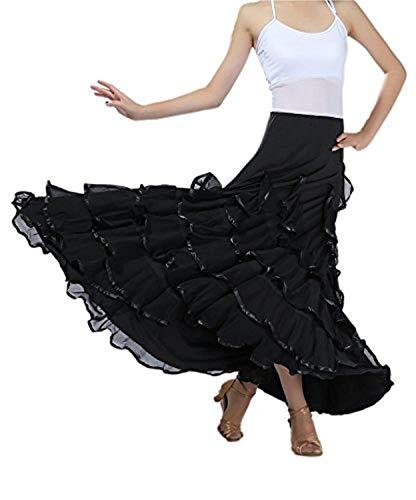 NFACE Eleganter Gesellschaftstanz Latin Dance Party Long Swing Race Rock Schwarz