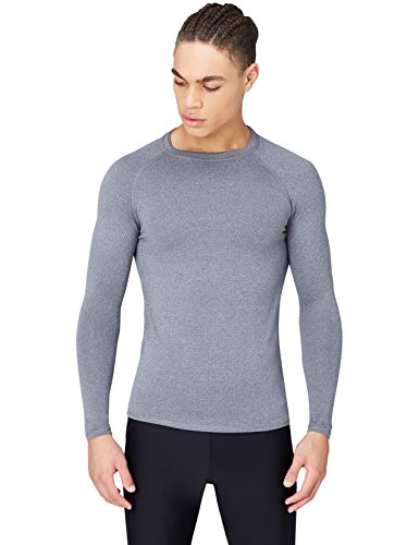 Activewear Top de Sport Technique Homme, Gris (Grey Marl), Medium