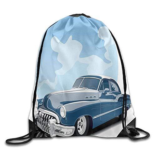 Etryrt Prämie Turnbeutel/Sportbeutel, Old Timer Vintage Automobile Collectors Revival Nostalgia American Culture Drawstring Gym Sack Sport Bag for Men and Women