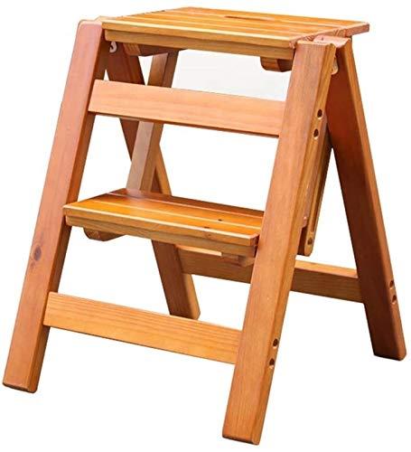 GHFHF Taburete de Madera Plegable con Estante de Flores, Taburete multifunción para Cocina, Escritorio, Escalera Interior, Capacidad de 150 kg  marrón