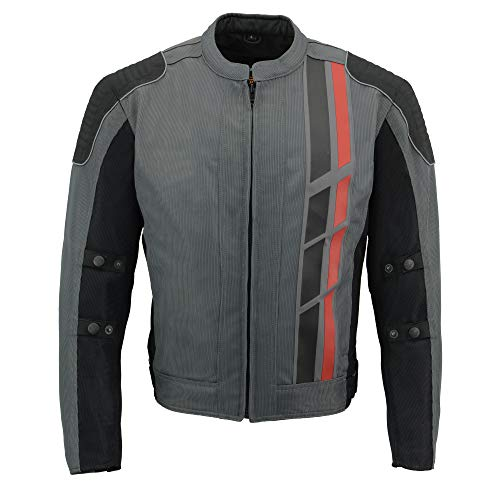 Milwaukee Leather MPM1752 Men's Black and Grey Mesh Armored Racing Jacket with Dual Gun Pockets - Large