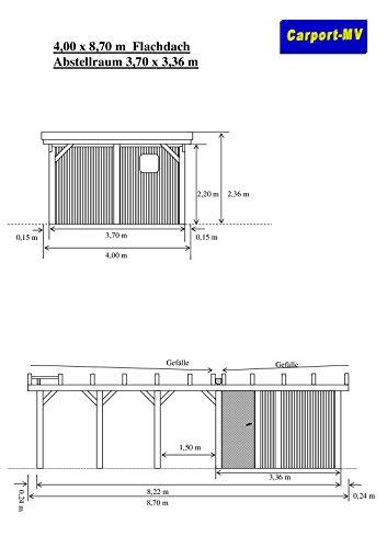 Carport-MV Carport 4,00 x 8,70 m Flachdach Lärche KVH mit Abstellraum