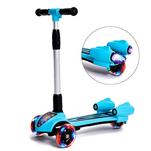 MammyGol Scooters for Kids 3 Wheel Kick Scooter,Folding LED Spray Jet Scooter with Adjustable Height,Flashing PU Wheels and Lean to Steer,Best Gifts for Children Age 3-8 Years Old Blue