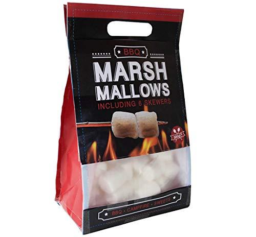 BBQ Marshmallows - Schaumzucker-Süßigkeit für Barbecue und Lagerfeuer - inkl. 6 Holzstäben - weiß - fettfrei glutenfrei