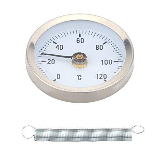 Lorsoul Hot Water Pipe 120º termómetro bimetálico Tubos de Acero Inoxidable de Superficie con Clip de la Primavera de Temperatura Indicador de Temperatura