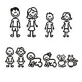 Beauneo Familia de Pegatinas de 10 Piezas con Auto para Mascotas Pegatinas Afortunadas para Ventana (Negro)