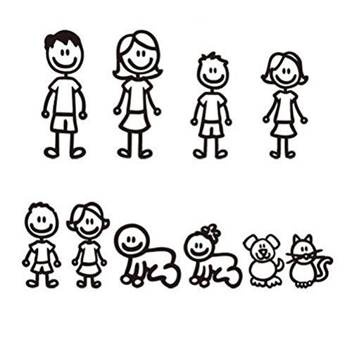 TOOGOO Familia de Pegatinas de 10 Piezas con Auto para Mascotas Pegatinas Afortunadas para Ventana (Negro)