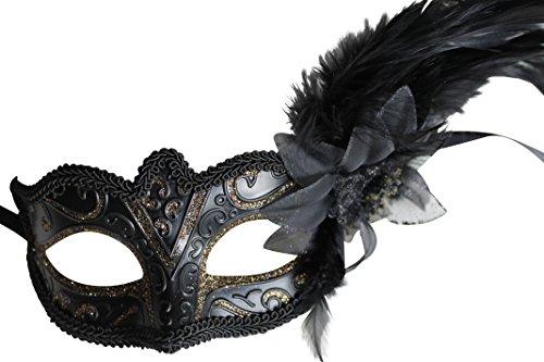 Das Gute Leben Mujer Negra y Oro Funk elnd Masquerade Veneciana Carnaval Máscara con Flores y...