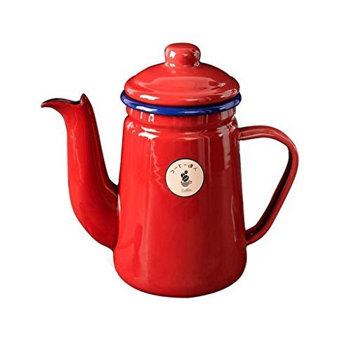 Red coffee pot Tea Pots Enamel Gas Kettle Stovetop for induction hobs gas Ceramic kitchen, 1 Litre,Best Whistling Tea Kettle Fine production