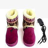 BDN Zapatillas De Felpa,Calentador de pies, Zapatos calefactores eléctricos enchufables, Zapatos calefactores eléctricos Desmontables-púrpura_27 CM (Adecuado para tamaño 38-39)