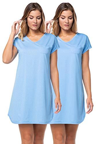 e.FEMME® 2Pack Damen Nachthemden Sandra 914 aus Baumwolle, Blau 44