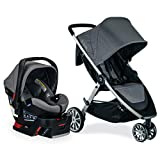 BRITAX B-Lively Travel System with B-Safe Ultra Infant Car Seat, 2 Layer Impact Protection, Birth to 55 Pounds, One Hand Fold, XL Storage, Ventilated Canopy, Easy to Maneuver, Gris