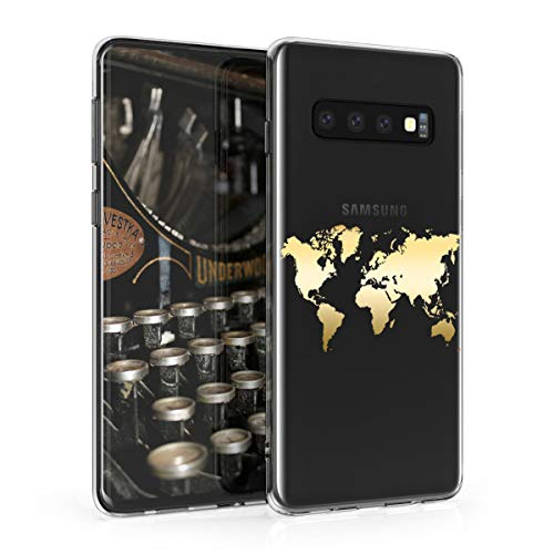 kwmobile Hülle kompatibel mit Samsung Galaxy S10 - Handyhülle - Handy Case Travel Umriss Gold Transparent
