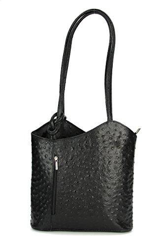 Belli ital. Ledertasche Backpack 2in1 Rucksack Handtasche Schultertasche - Freie Farbwahl - 28x28x8 cm (B x H x T) (Schwarz strauss)
