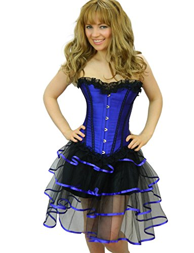 Yummy Bee Corsé Satén Ballenas Tutu Falda Largo o Corto con Volantes Burlesque Fiestas Disfraces Traviesos Juegos Alcoba Talla Grande 34 - 54 (Azul Longrib, 34)