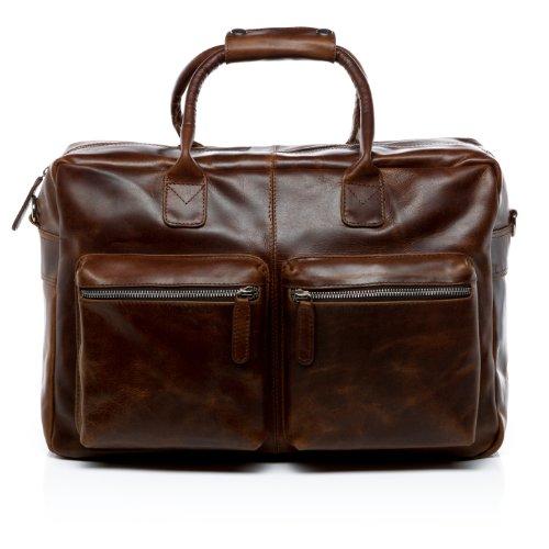 SID & VAIN Laptoptasche echt Leder Brighton XL groß Businesstasche Umhängetasche Aktentasche 15.6