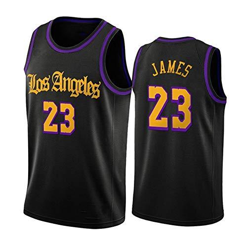 CLKI # 23 James # 23 Camisetas de Baloncesto de los Lakers, Chaleco Bordado para Hombre, Sudaderas de Entrenamiento de Gran tamaño de Secado rápido para niños de Moda (2X Black B-L