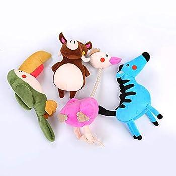 WISREMT Jouets Couinement pour Chiens Jouets à Mâcher Animaux Jouet pour Petits Chiots Jeux Interactif Peluche(Girafe Rose)