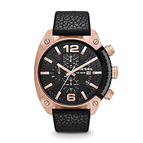 Diesel Men's Overflow DZ4297 Black Leather Japanese Quartz Fashion Watch