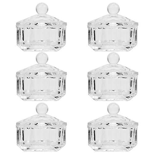 FRCOLOR 6 Unids Nail Art Vasos de Vidrio con Tapa Polvo Líquido Transparente Plato Dappen Cuenco de Cristal para Mujeres Hogar Salón de Uñas Tienda Manicura Herramientas