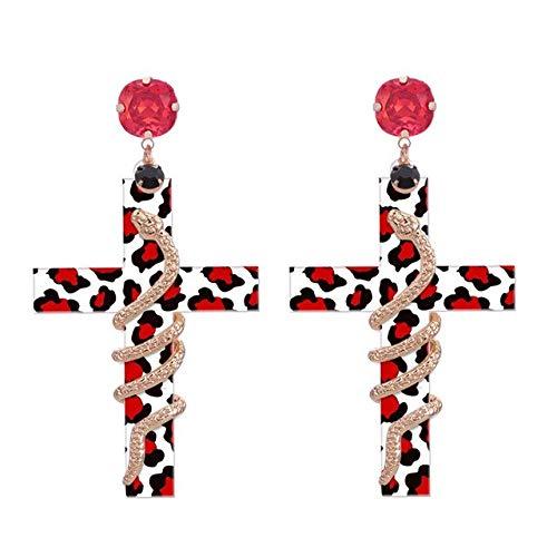 DJMJHG Pendientes de Gota de Resina de Serpiente con Cruz Bohemia para Mujer Pendientes de declaración joyería de Estilo ModernoTigre Blanco Rojo