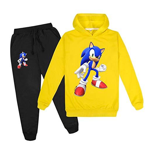 mama stadt Sonic The Hedgehog Sweatshirt und Jogginghose Sportswear Sets Zweiteiliger Trainingsanzüge für Mädchen Jungen Sportanzug/170