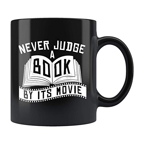 N\A Abanico de Libros Taza de Abanico de Libros Lector de Libros Regalo Taza de Lector de Libros Taza de Lectura de Libros Regalo de Amante de los Libros Nunca juzgues un Libro por su película B616