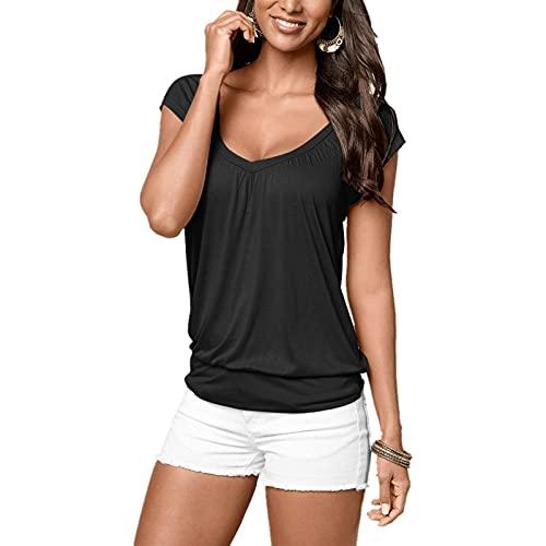 CHAOEN Damen Sommer T-Shirt V-Ausschnitte Weich Basic Shirt Kurzarm Oberteile Bequemer Mode Elegant Blusen Tshirt Hemdbluse Top