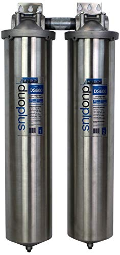 Aquios DuoPlus DS600S 2-Stage Full House Salt Free Water Softener & Filtration System, Stainless Steel, Removes Chloramines, Chlorine, Tanins and more