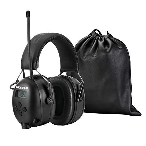 PROHEAR (Upgraded Gehörschutz mit Bluetooth, LCD-Display , FM/AM Radio Wiederaufbare Ohrenschützer, Eingebautem Mikrofon und Lärmreduzierung für Lärmintensive Freizeitaktivitäten SNR30dB -Schwarz