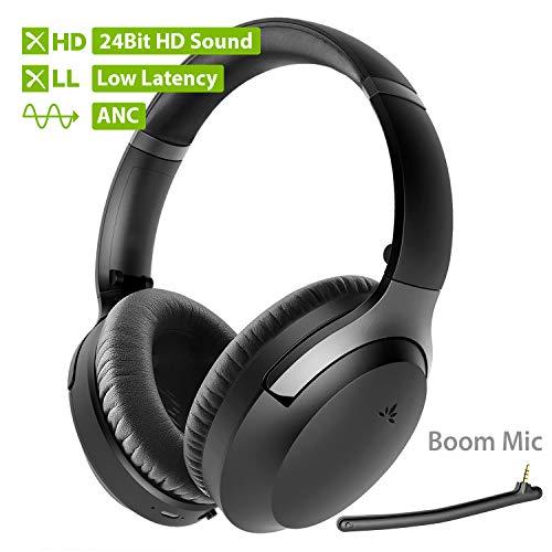 Avantree Aria Pro aptX-HD 24 Bit Hi-Fi Bluetooth 5.0 Active Noise Cancelling Kopfhörer, kabellos Over Ear ANC Headset mit Boom-Mikrofon für Klare Anrufe, aptX geringe Latenz für TV PC Computer