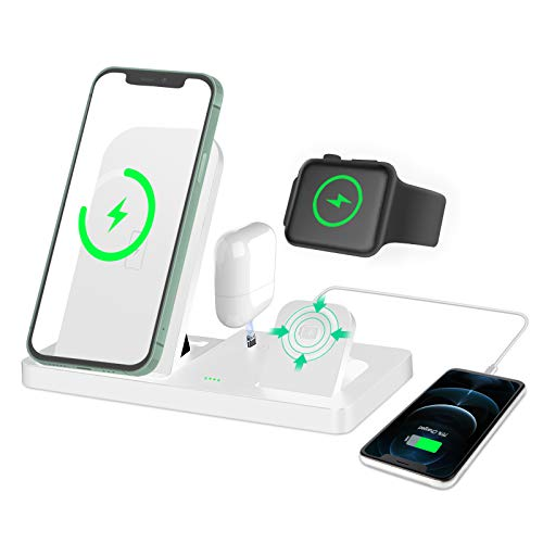 SEQI 4 in 1 Kabelloses Ladegerät, Wireless Charger, 15W Fast Induktive ladestation für Apple Watch, Airpods Pro, iPhone 12/SE/11/X/XR/Xs Max/8, Samsung Galaxy S20