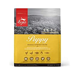 With 85% quality animal ingredients, ORIJEN Puppy nourishes puppies according to their evolutionary and biological needs. 1/3 of the animal ingredients are from dehydrated chicken and turkey (air-dried at a low temperature from fresh meat) for a conc...