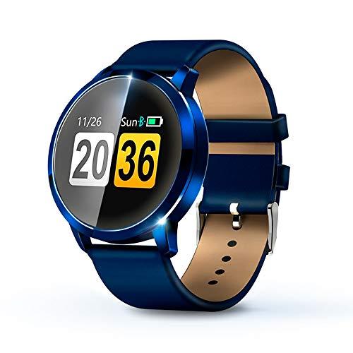 KawKaw Q8A Smart Watch Für Damen und Herren, IP67 wasserdichte Fitnessuhr mit integriertem Fitnesstracker, Pulsmesser, Schrittzähler, Kalorienzähler und Whatsapp, ideale Sportuhr (Leder Blau)