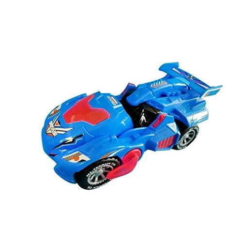 AAGOOD-Trasformare giocattolo Dinosaur regalo Robot veicolo con LED Light Music automatico Transform deformazione Dino auto Playset per bambini blu